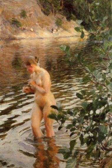 Naked in the river :: Anders Zorn - Nu in art and painting фото