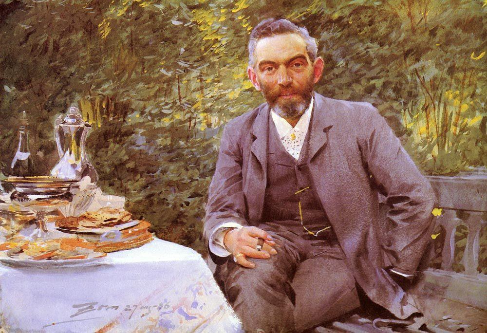 Breakfast in the herb garden :: Anders Zorn - men's portraits 19th century фото