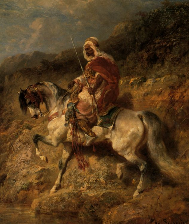 An Arab Horseman on the March :: Adolf Schreyer  - Horses in art фото
