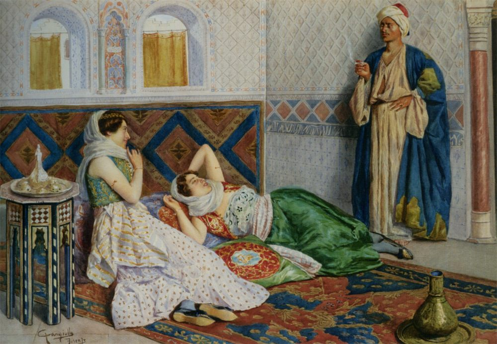 In The Harem :: Antonio Gargiullo - Arab women ( Harem Life scenes ) in art  and painting фото