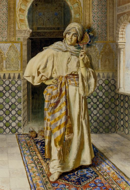 Oriental women in interior :: Antonio Gargiullo  - Arab women ( Harem Life scenes ) in art  and painting фото