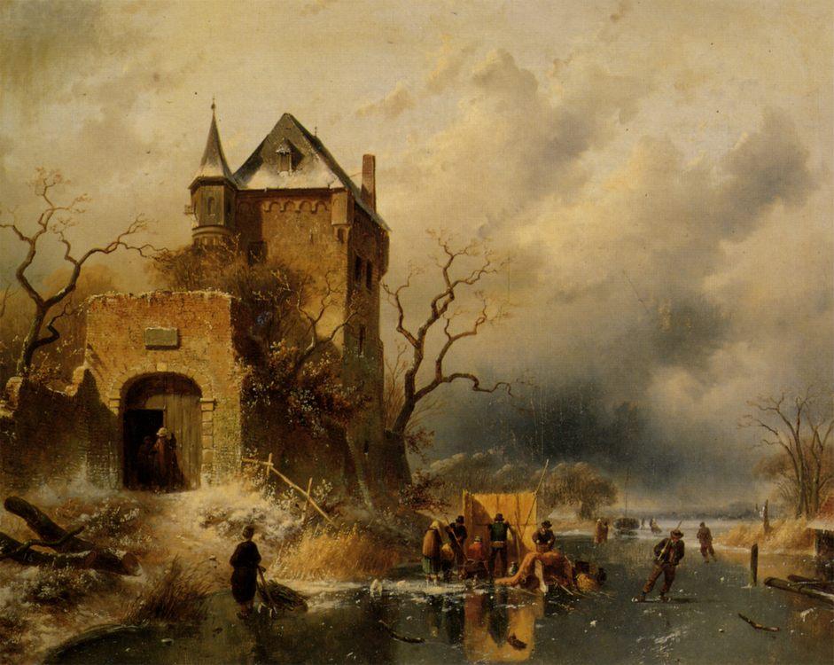 Figures on a frozen river :: Charles Henri Joseph Leickert - winter landscapes ôîòî