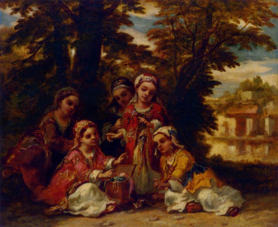 Enfants turcs-cinq fillettes jouant a l'ombre de grands arbres :: Narcisse-Virgile Dнaz de la Peсa  - Children's portrait in art and painting фото