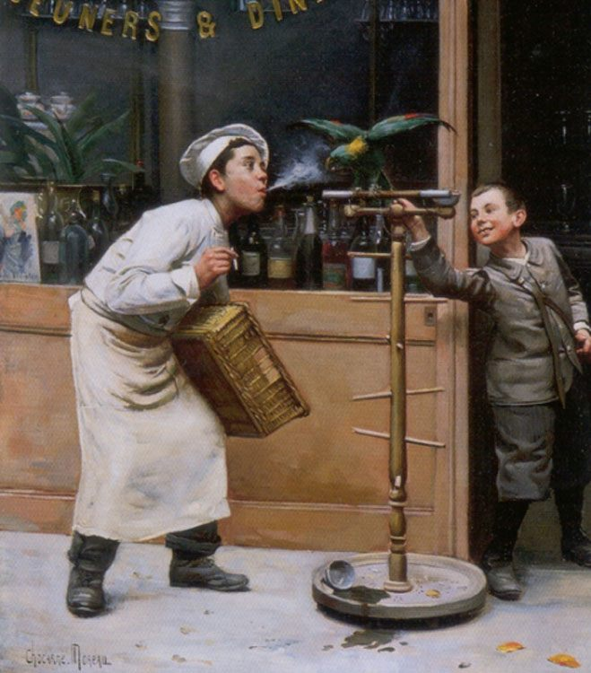 Teasing the Parrot :: Paul Charles Chocarne-Moreau - Children's portrait in art and painting фото