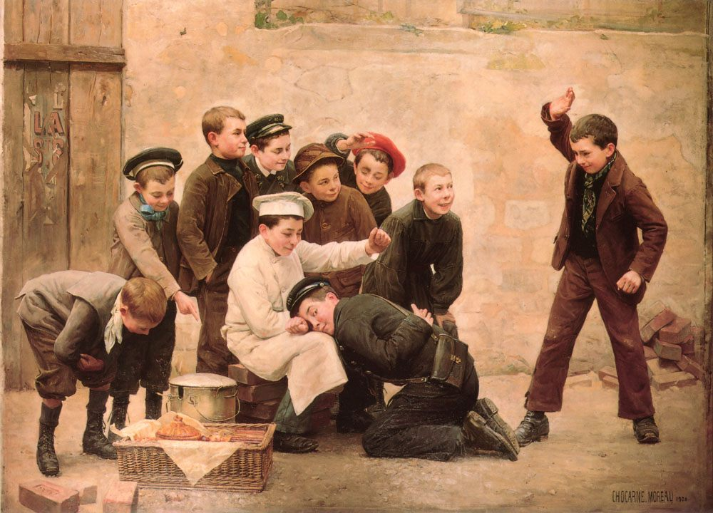 The Spanking :: Paul Charles Chocarne-Moreau - Children's portrait in art and painting фото