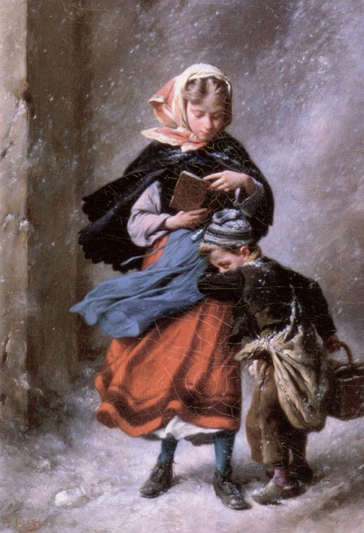 On their way home :: Paul-Felix Guerie - Children's portrait in art and painting фото