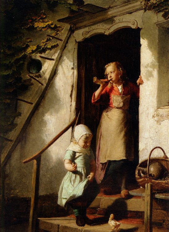 Feeding the Chicks :: Theodore Gerard - Children's portrait in art and painting фото