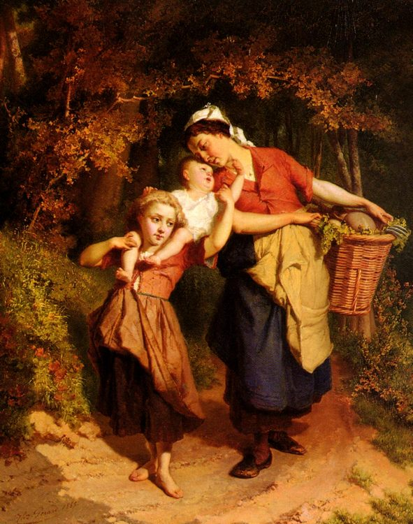 Returning From The Market :: Theodore Gerard - Children's portrait in art and painting фото