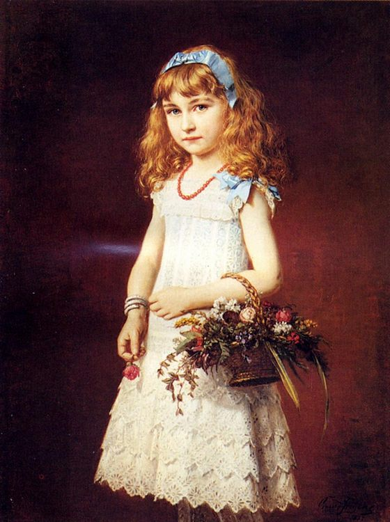 A Young Girl With A Basket Of Flowers :: Conrad Freyberg - Portraits of young girls in art and painting фото