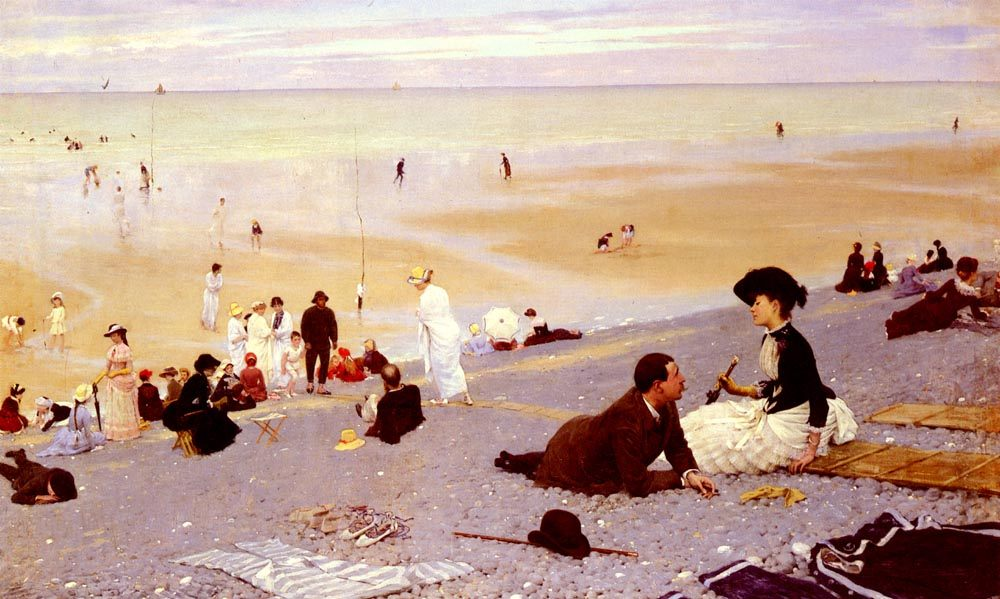 Sur Les Galets :: Albert Aublet ( flirt on the shore ) - Romantic scenes in art and painting фото