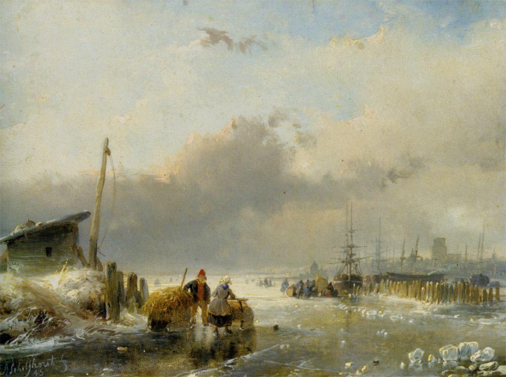 View of Dordrecht :: Andreas Schelfhout  - Coastal landscapes ôîòî