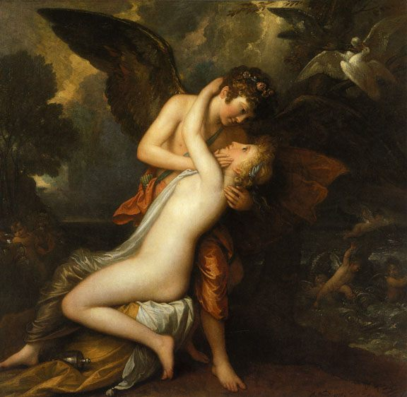 Cupid and Psyche :: Benjamin West - nu art in mythology painting фото
