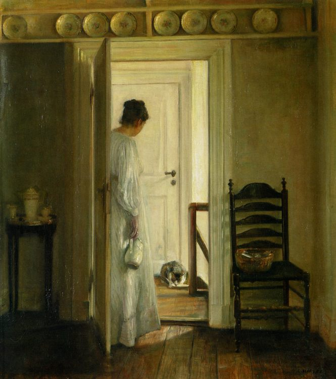 A Saucer of Milk :: Carl Vilhelm Holsoe - Interiors in art and painting фото
