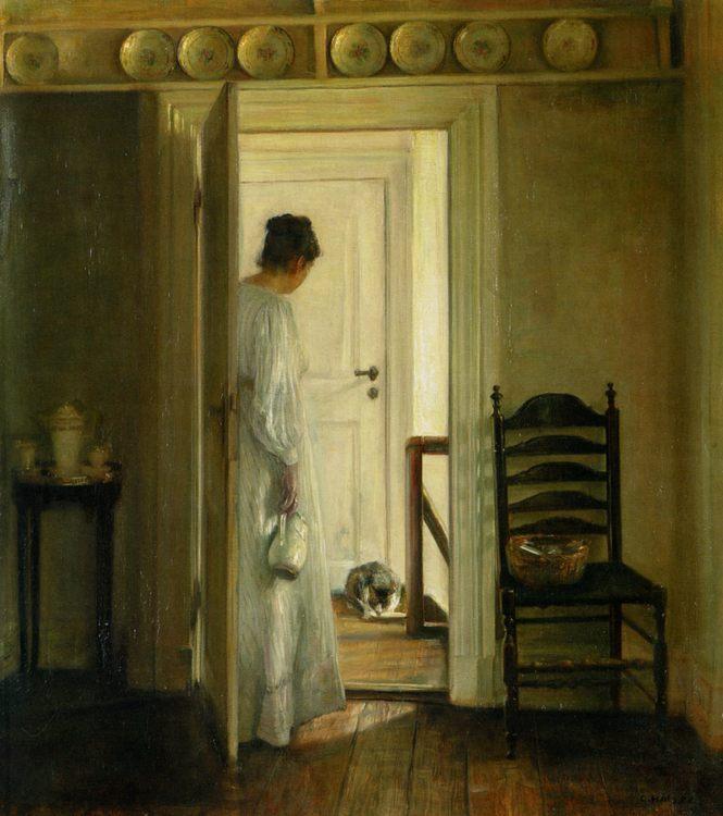 A Saucer of Milk :: Carl Vilhelm Holsoe - Interiors in art and painting ôîòî