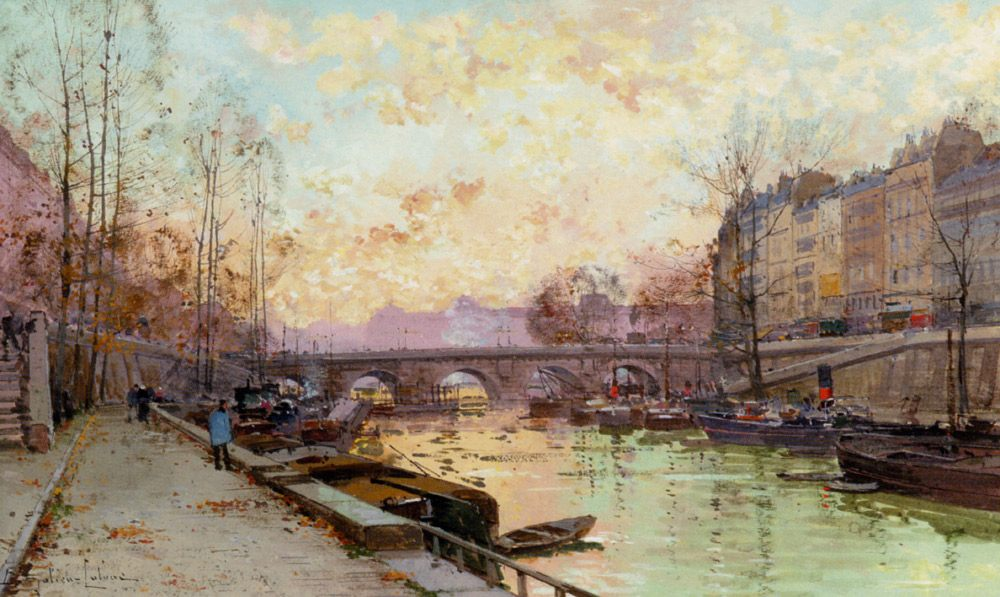 The quays of the Seine :: Eugene Galien-Laloue - River landscapes фото