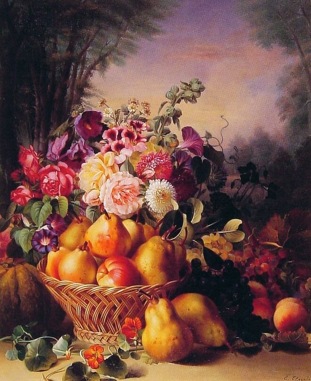 Still Life of Flowers and Fruits :: Eugene-Adolphe Chevalier - flowers in painting ôîòî