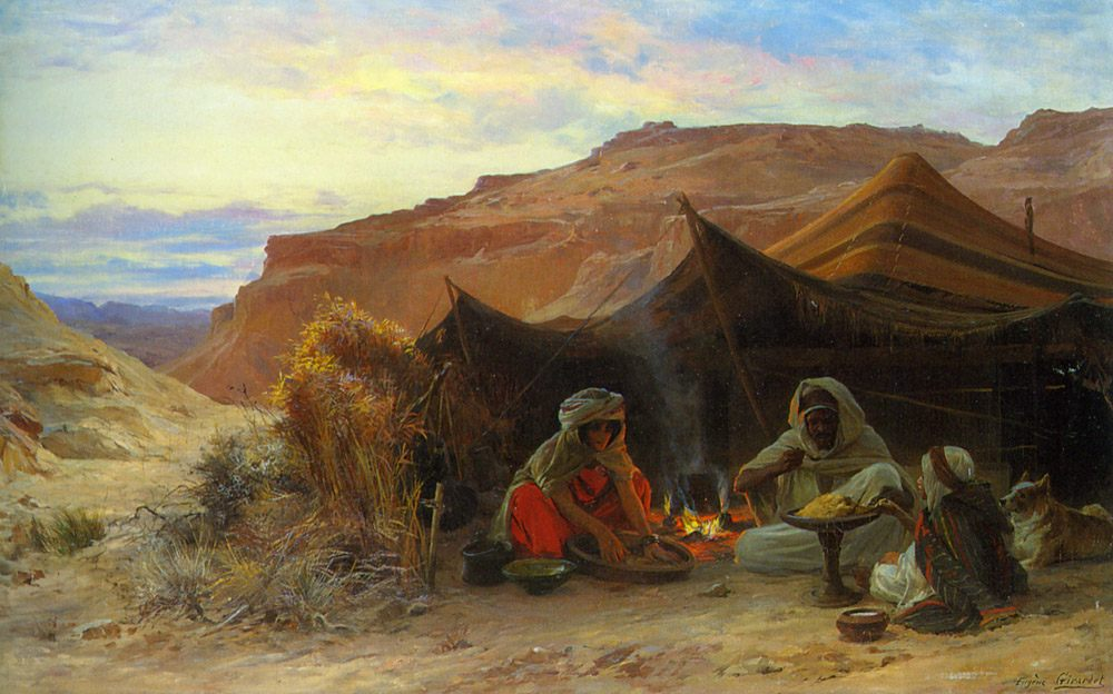 Bedouins in the Desert :: Eugene-Alexis Girardet - scenes of Oriental life ( Orientalism) in art and painting фото