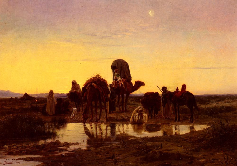 Camel Train By An Oasis At Dawn :: Eugene-Alexis Girardet - scenes of Oriental life (Orientalism) in art and painting ôîòî