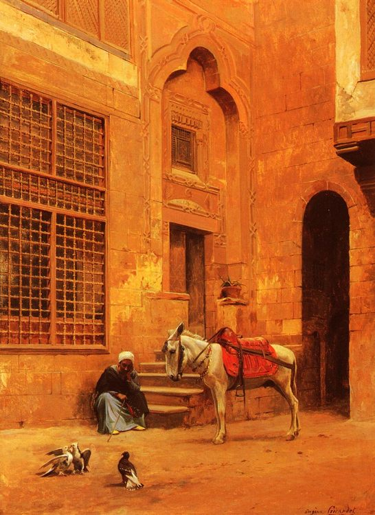 In The Courtyard :: Eugene-Alexis Girardet - scenes of Oriental life ( Orientalism) in art and painting фото