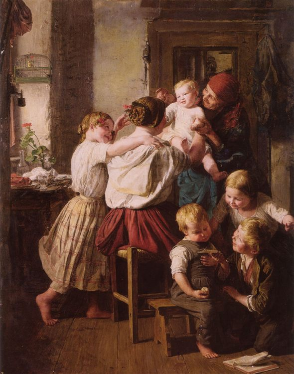 Children Making Their Grandmother a Present on Her Name Day :: Ferdinand Georg Waldmuller - Children's portrait in art and painting фото