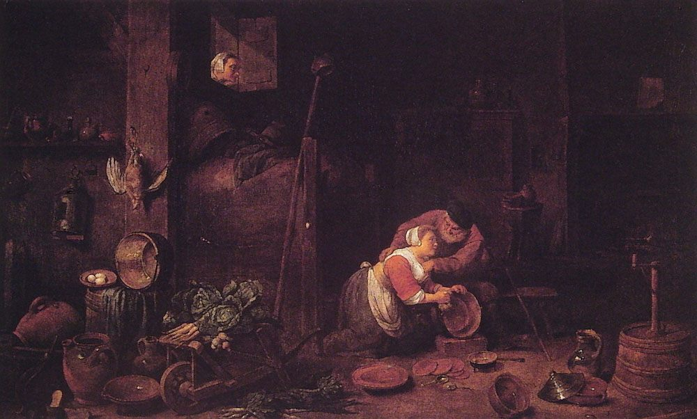 The old man And the culinary servant :: Ferdinand Georg Waldmuller - Romantic scenes in art and painting фото