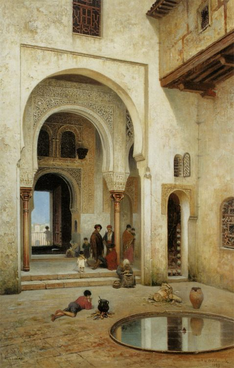 A Courtyard in Alhambra :: Frans Wilhelm Odelmark - scenes of Oriental life ( Orientalism) in art and painting фото