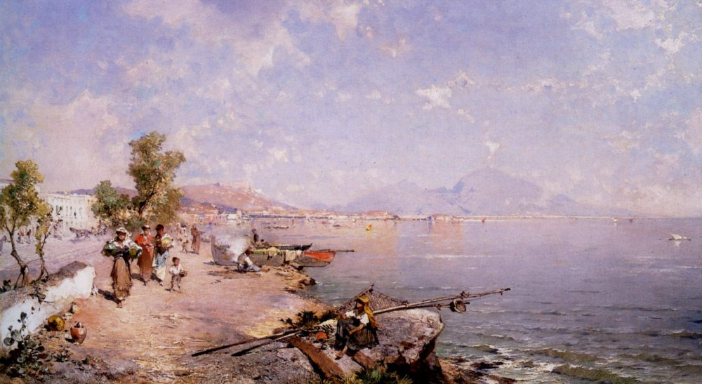 The Bay of Naples :: Franz Richard Unterberger - Coastal landscapes ôîòî