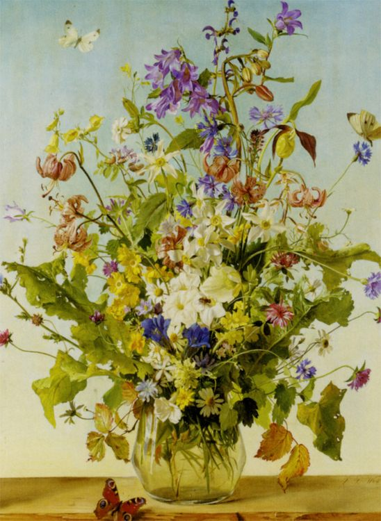 Anemones Lillien and other :: Franz Xaver Wolf - flowers in painting фото