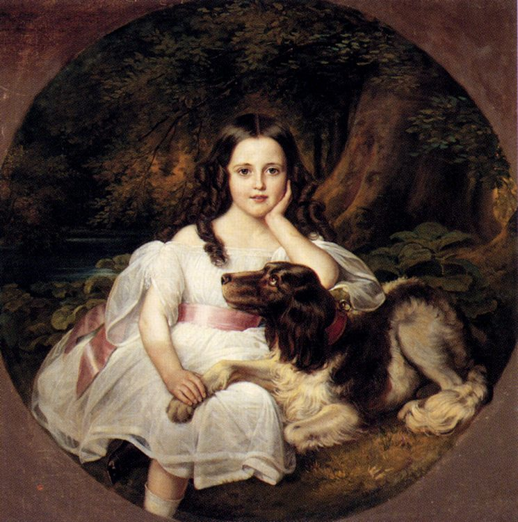 A Young Girl Resting In A Landscape With Her Dog :: Friedrich August von Kaulbach - Portraits of young girls in art and painting фото