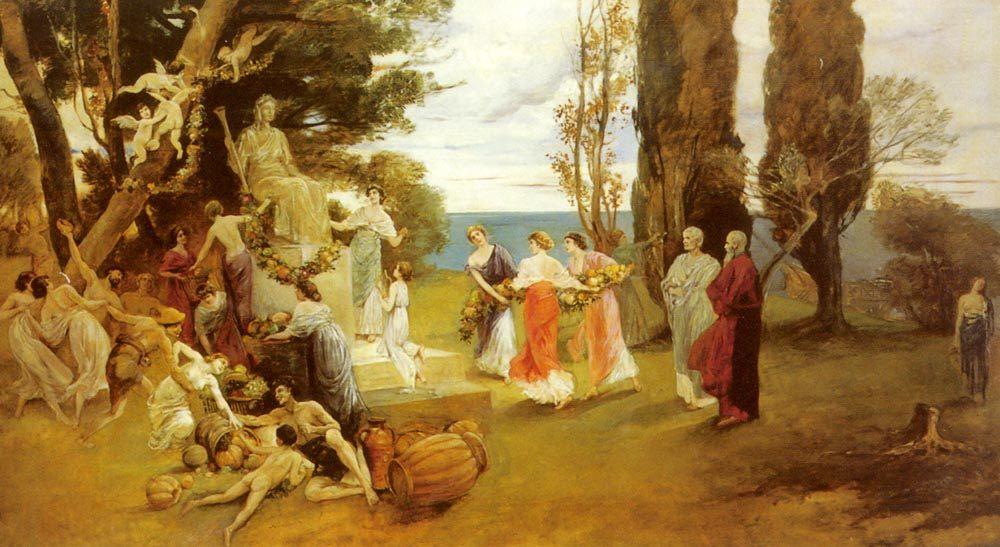 In Arcadia :: Friedrich August von Kaulbach - Antique world scenes фото