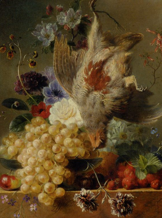 Grapes Strawberries Chestnuts an Apple and Spring Flowers :: George Jacobus Johannes Van Os - Still-lives with fruit фото