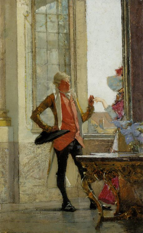 Pair at the window :: Gotthardt Johann Kuehl - Romantic scenes in art and painting фото