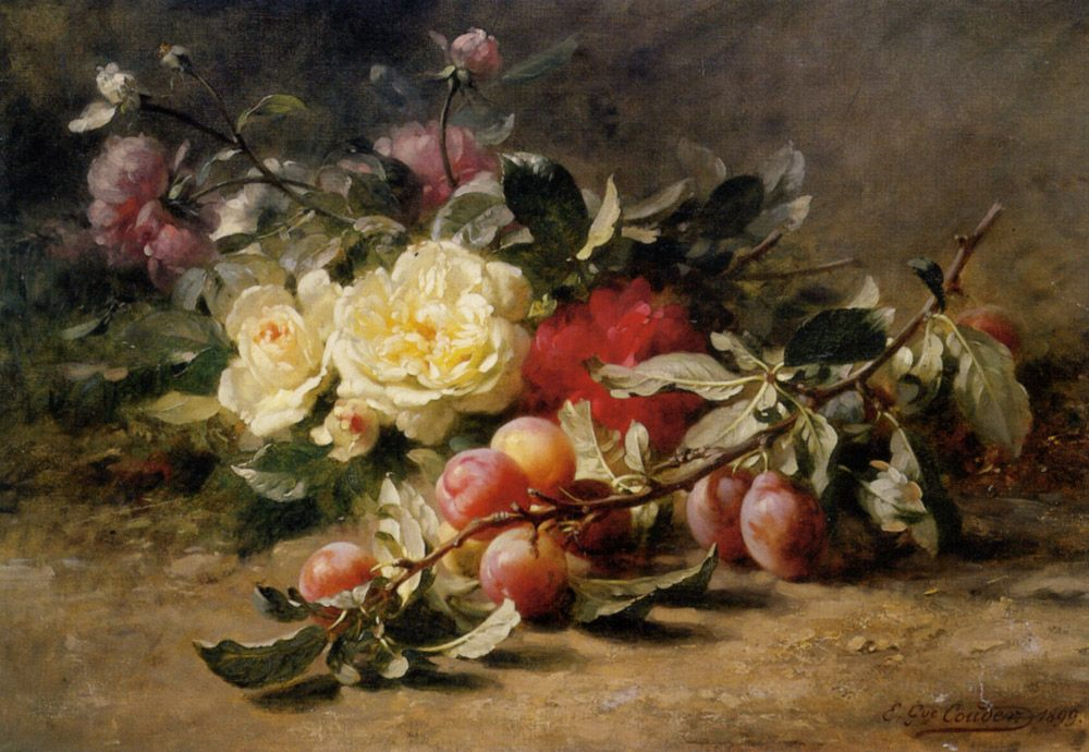 Peonies and Plums :: Gustave Emile Couder - Still-lives with fruit ôîòî
