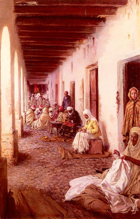 A Street In Biskra, Algeria :: Gustavo Simoni - scenes of Oriental life ( Orientalism) in art and painting фото