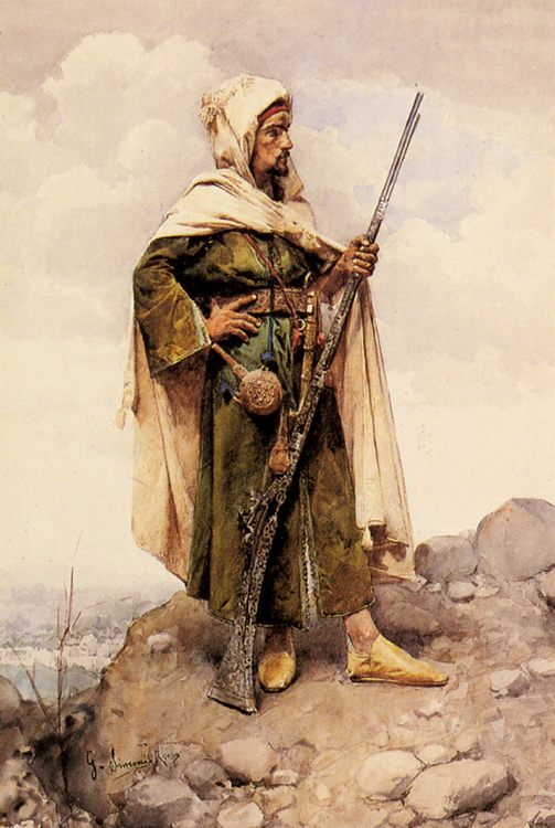 An Arab Soldier :: An Arab Soldier - scenes of Oriental life (Orientalism) in art and painting ôîòî
