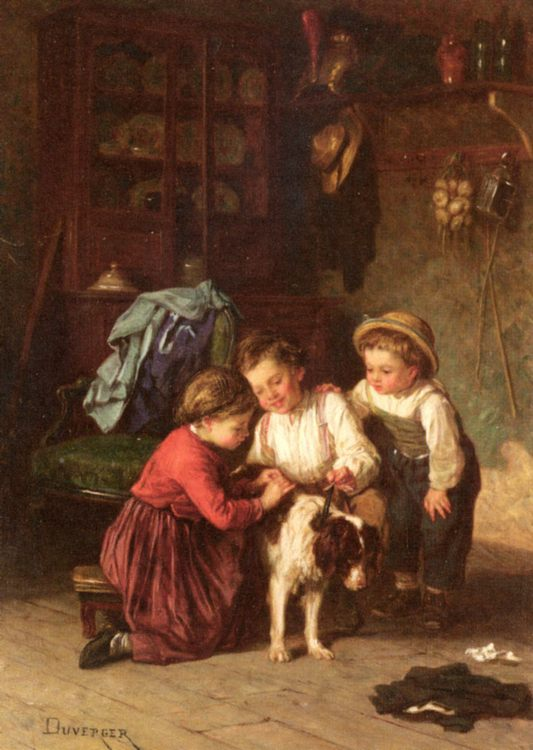 The Patient Pet  :: Theophile-Emmanuel Duverger - Children's portrait in art and painting ôîòî