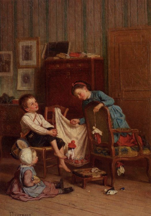 The Puppet Show :: Theophile-Emmanuel Duverger - Children's portrait in art and painting фото