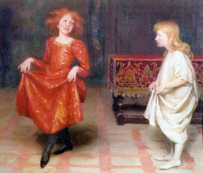 The Dancing Lesson :: Thomas Cooper Gotch  - Children's portrait in art and painting фото