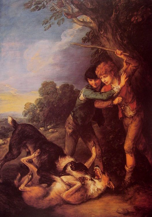 Shepherd Boys with Dogs Fighting :: Thomas Gainsborough - Children's portrait in art and painting фото