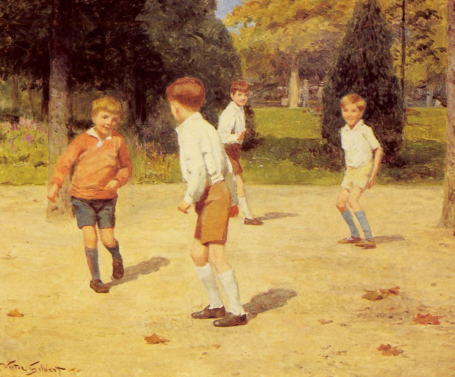 Boys Playing :: Victor Gabriel Gilbert - Children's portrait in art and painting фото