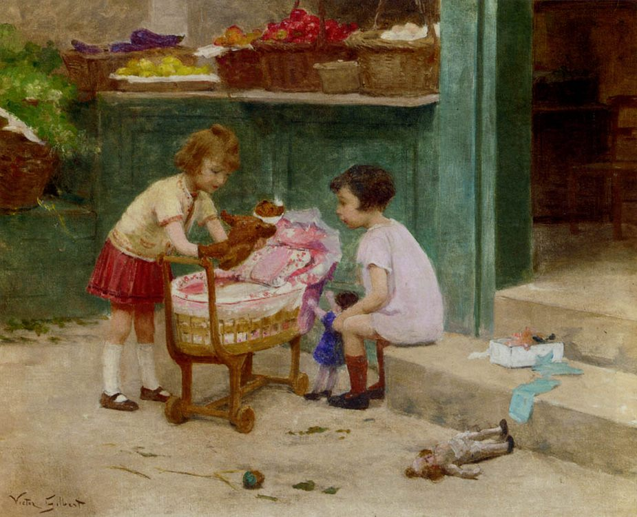 The Favourite Teddy Bear :: Victor Gabriel Gilbert - Children's portrait in art and painting фото