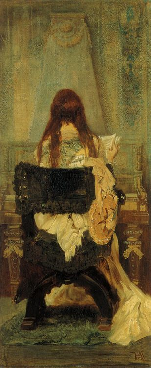 The Music Lesson :: Hans Makart  - Interiors in art and painting фото