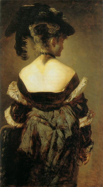 Lady with feathered hat jerk in view :: Hans Makart - 7 female portraits ( the end of 19 centuries ) in art and painting фото