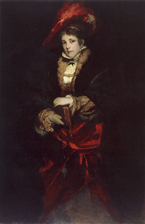 Portrait of a Lady with Red Plumed Hat :: Hans Makart - 6 woman's portraits hall ( The middle of 19 centuries ) in art and painting фото