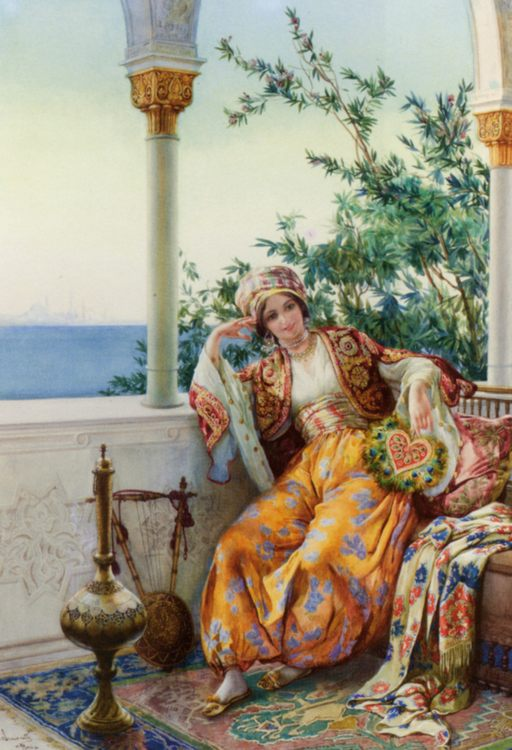 A Turkish Beauty Resting on a Terrace  :: Amedeo Momo Simonetti - Arab women (Harem Life scenes) in art  and painting ôîòî