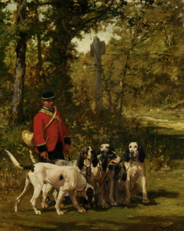 A Huntmaster with his Dogs :: Charles Olivier De Penne  - Hunting scenes фото