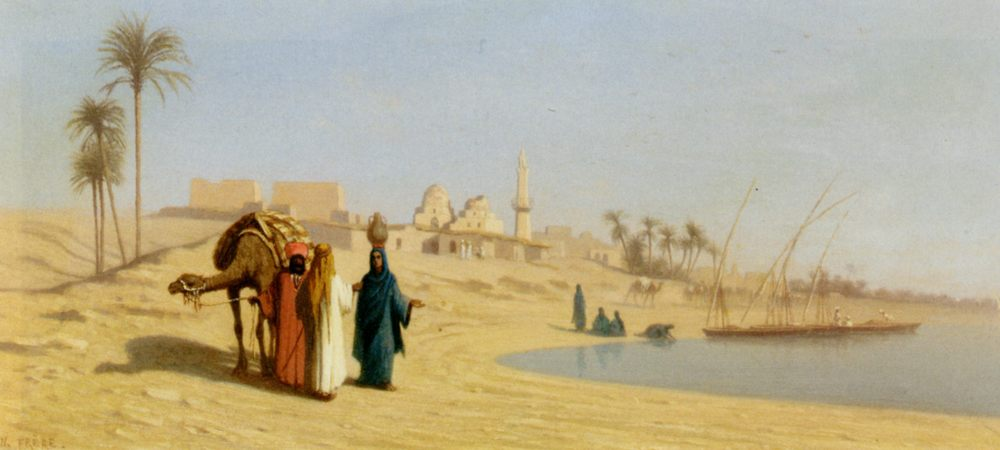 The Banks of the Nile :: Charles Theodore Frere - scenes of Oriental life ( Orientalism) in art and painting фото