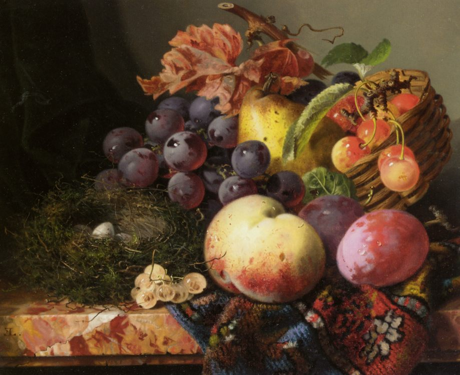 Still Life with Birds Nest and Fruit :: Edward Ladell - Still-lives with fruit фото