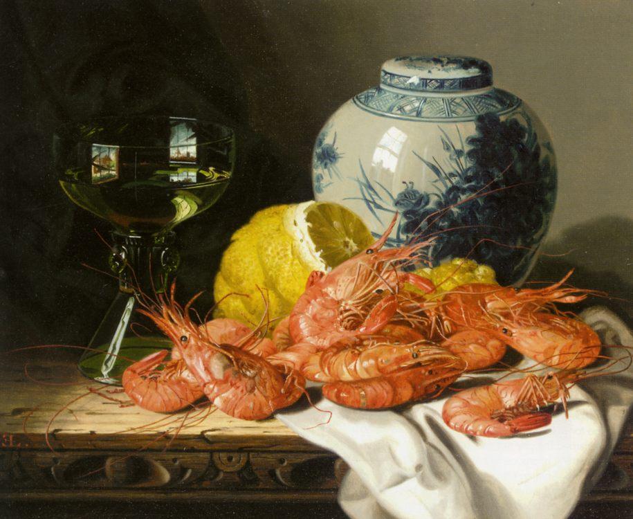 Still Life with Prawns and a Delft Pot  :: Edward Ladell - Still Lifes ôîòî