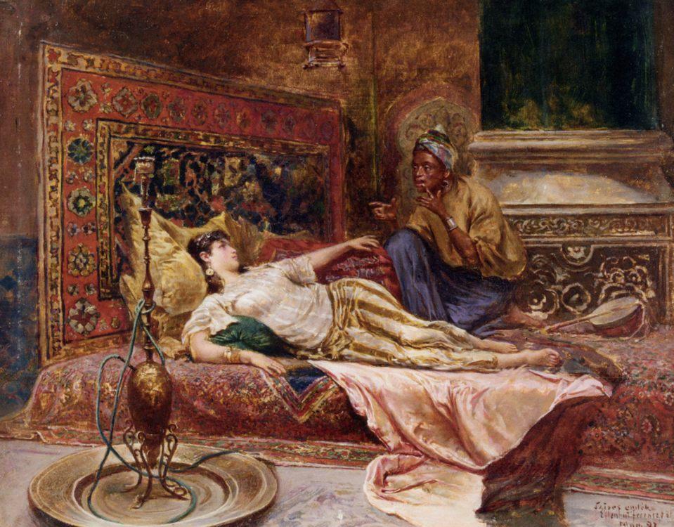 Reclining Odalisque :: Ferencz-Franz Eisenhut - Arab women (Harem Life scenes) in art  and painting ôîòî